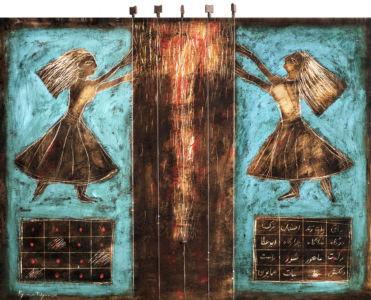 Creando la sorgente del suono, 2015, Tecnica mista su tavola, 65 x 80 cm