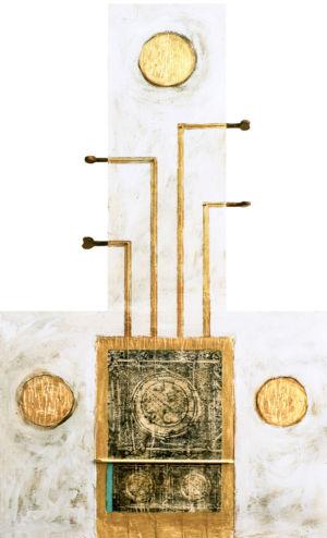 L'accordo dell'oro, 2016, Tecnica mista su tavola, 80 x 50 cm