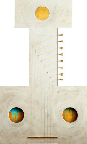 Le note liquide, 2017, Tecnica mista su tavola, 100 x 60 cm