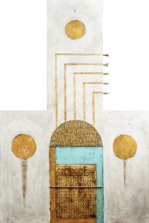 Numeri e musica turchese, 2016, Tecnica mista su tavola, 120 x 80 cm