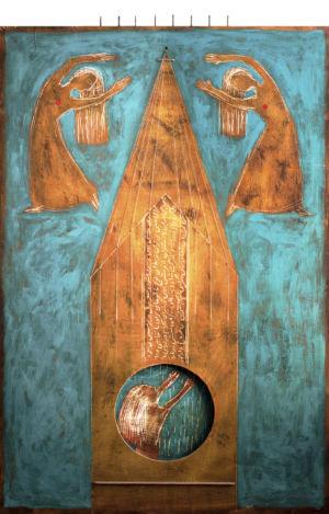 Pregando alla sorgente del suono, 2015, Tecnica mista su tavola, 125 x 80 cm